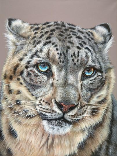 Snow Leopard IV by Gina Hawkshaw - Original Painting on Box Canvas